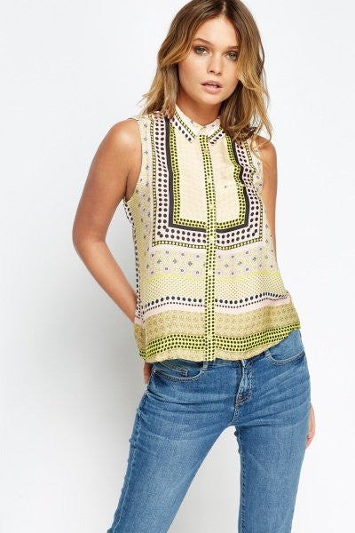 Scarf Print Sleeveless Blouse | YELLOW - Wardrobe Wilderness