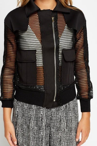 Military Mesh Bomber Jacket | BLACK - Wardrobe Wilderness