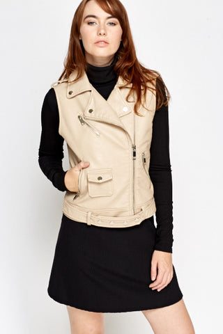 Sleeveless Biker Jacket | BEIGE - Wardrobe Wilderness