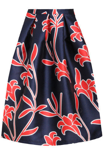 Printed Prom Midi Skirt | NAVY/RED - Wardrobe Wilderness