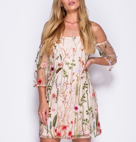 Bardot Embroidered Mesh Dress | NUDE