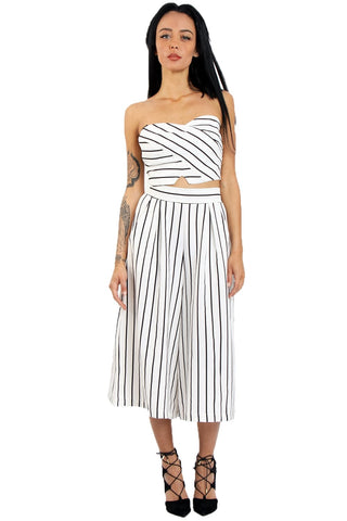 Pinstripe Wide Leg Culottes | WHITE/BLK - Wardrobe Wilderness