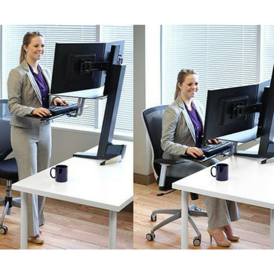 WorkFit-S, Dual Monitor with Worksurface+