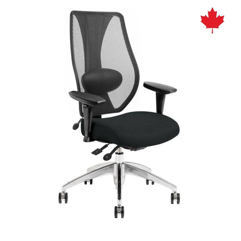tCentric Hybrid Boardroom Chair - Black Frame & Black Upholstered Seat