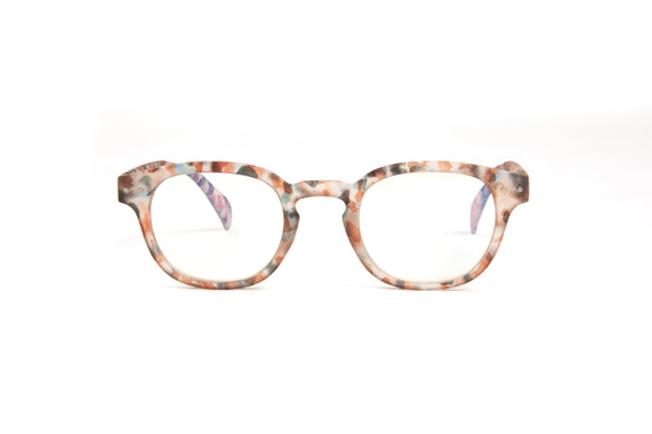Eyejets multi colored tortoise reading glasses with blue light blocking lenses