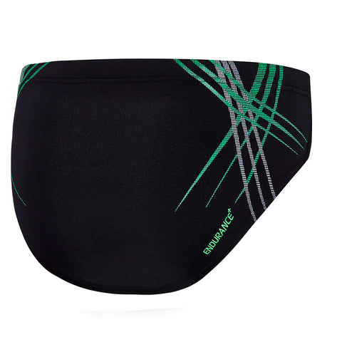Mens Rush 10cm Brief - Black/Reflective Green