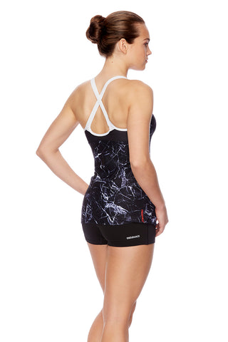 Womens Cross Trainer Fit Tank - Marble Shine/White