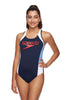 Womens Block Muscleback One Piece - Navy/White/Bluebell