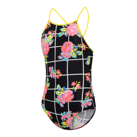 Girls Floricheck High Neck One Piece