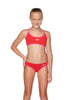 Girls Tie Back Two Piece Set - USA Red/Happyness