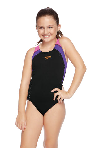 Girls Sport Image One Piece - Black/Orchid/Music