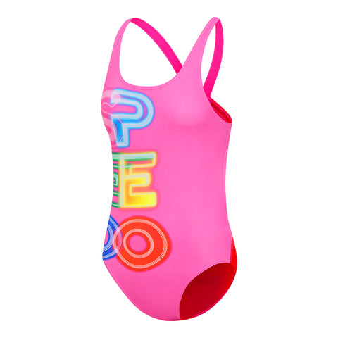 Girls Speedo Glow Leaderback One Piece