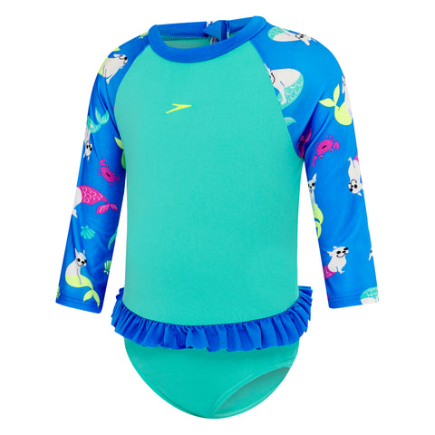 Toddler Girls Frenchie Ocean Flounce Sun Suit
