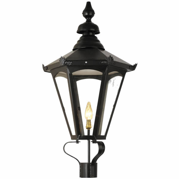 "Period Lamppost Hexagonal Black Lantern - Overall Height 3100mm (10'2"") - Garden Antiquities Ltd"