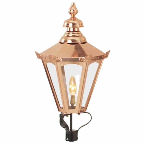 Period Lamp Posts Copper Hexagonal Lantern -Overall Height 2770mm (9') - Garden Antiquities Ltd