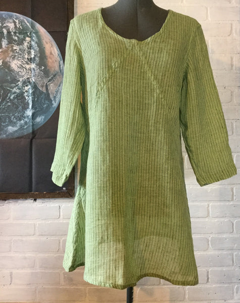 FLAX Spring Green Linen Tunic Dress Medium