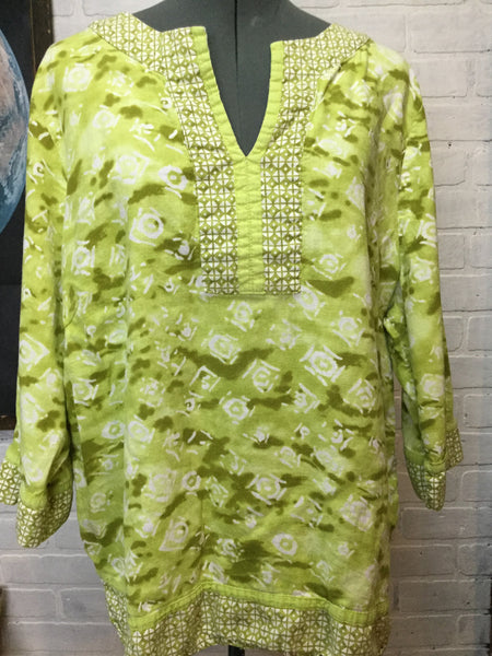 Lime Green Boho Linen Batik Tunic Plus Size 2X