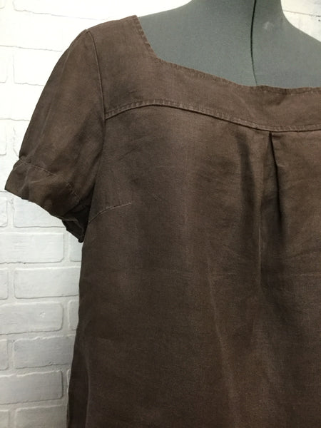 TWEEDS Brown Short Sleeves Linen Blouse Large L