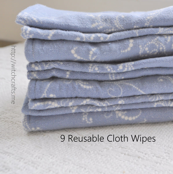 9 Blue & White Reusable Recycled Flannel Cloth Wipes Washies