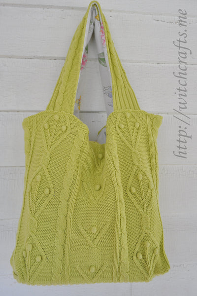 SPRING GREEN Upcycled Sweater Tote Reusable Bag