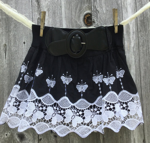 Black & White Lace Butterfly Mini Skirt Small