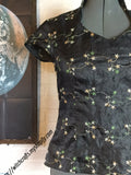 Black Silk Embroidered Asian Inspired Blouse Small