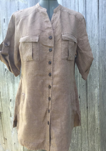 Coldwater Creek Brown Linen Cargo Camp Shirt M 10-12