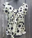 Boston Proper Andrea Behar White &  Black Polka Dot Silk Blouse Size 6