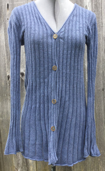 Flax Pima Cotton Long Cardigan Sweater S/M