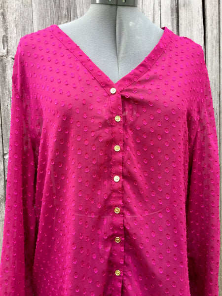 Raspberry Sheer Dotty Blouse XL