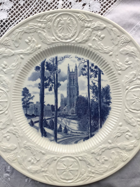Duke University Blue Wedgwood Plate Vista of Chapel