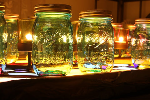 Colored mason jars for whiskey distilling