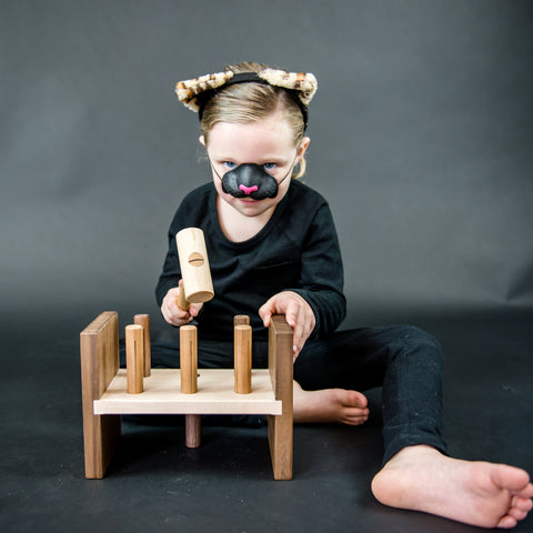hammer toy - cats - wooden toy