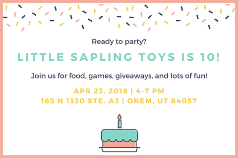 birthday party - 10 years - little sapling toys - invite
