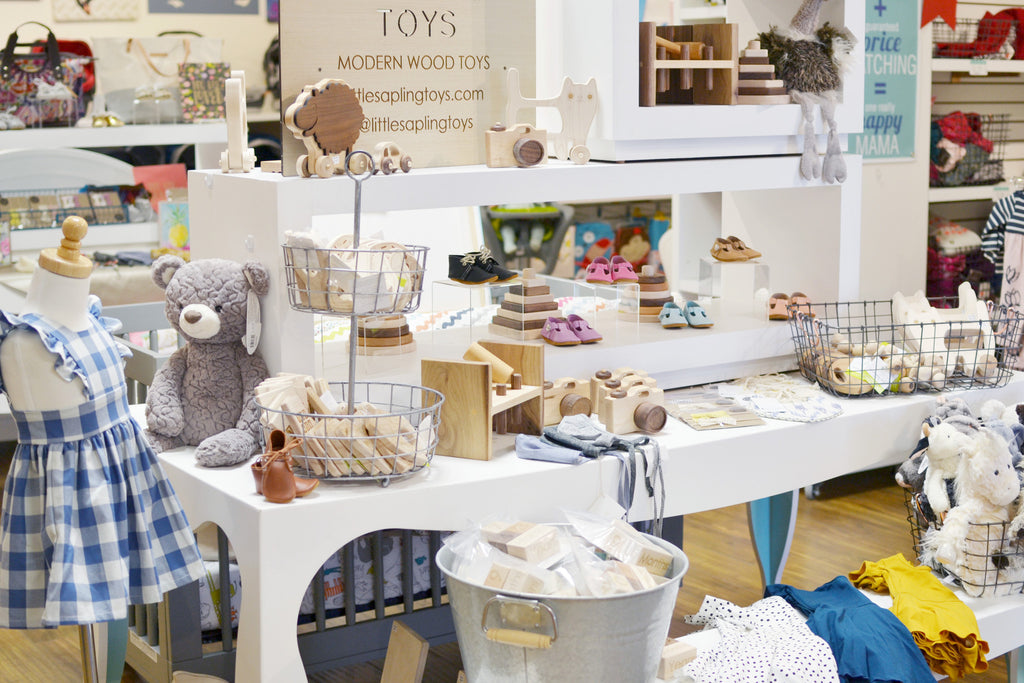 Small mom and pop brick and mortar baby and kids shop.