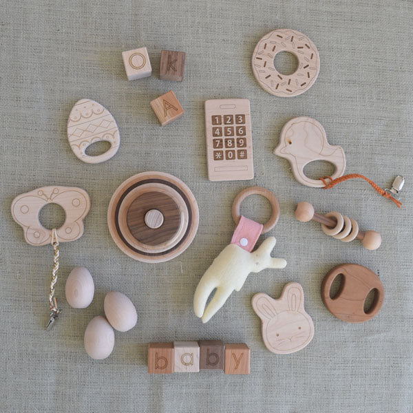 Baby Easter basket wood toy picks