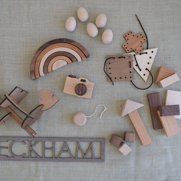 Kids Easter basket wood toy picks