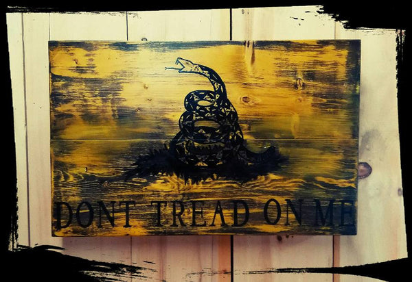 Don't Tread On Me - Custom Wooden Flag (Hidden Compartment)