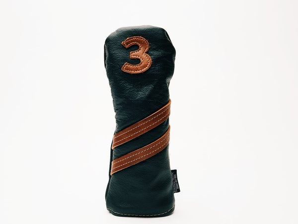 Americana Edition leather golf Headcover in Black/Chestnut