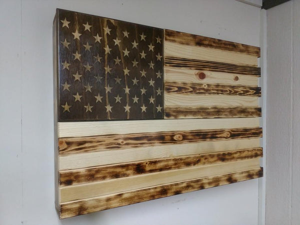 Large Charred Home Concealment American Flag