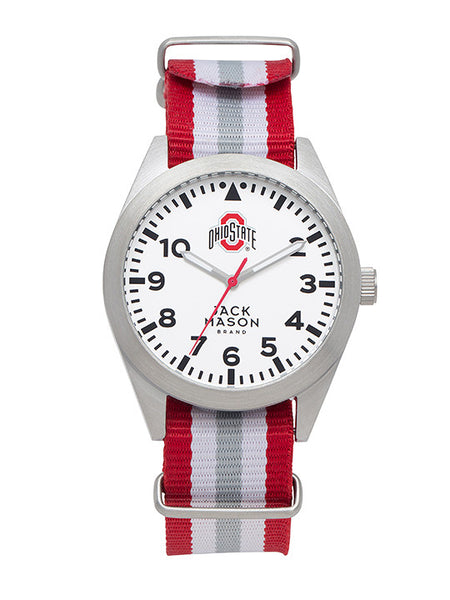 Ohio State Men's Stiped Nato Strap Watch