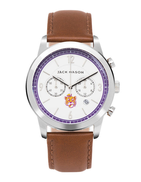 LSU Tigers Leather Chronograph Watch