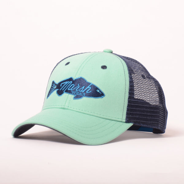Retro Redfish Trucker Hat - Seafoam & Marine Navy