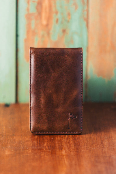 Handmade Leather Golf Scorecard Holder - Vintage Bourbon