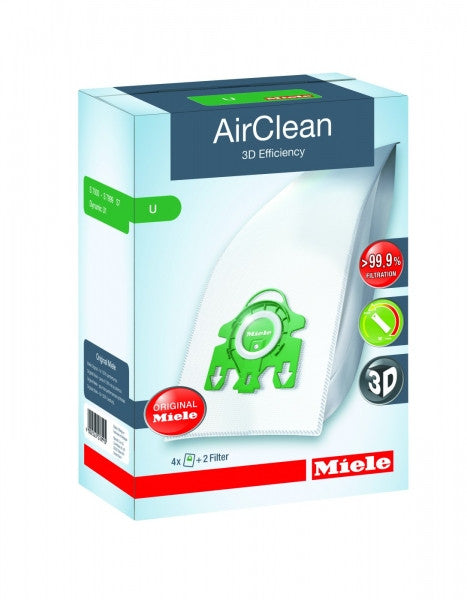 Miele Type U AirClean Vacuum Cleaner Bags (4 Bags + 1 Air Clean Filter + 1 Secondary filter)