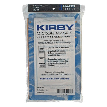 Kirby Twist Style Paper Bags G4 & G5 (3 pack) Vacuum Bags Part # 197294