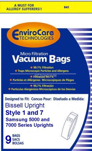 Bissell Style 1 and 7  Vacuum Bags (9 pack)