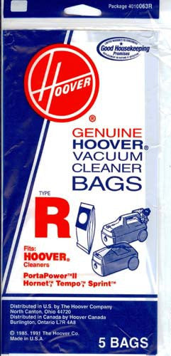 Hoover type R Vacuum Bags (5 pack) Part # 4010063R