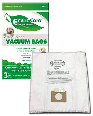 Kenmore Canister type C / Q 5055 50557 50558 Anti Allergy Vacuum Bags - 3 Pack
