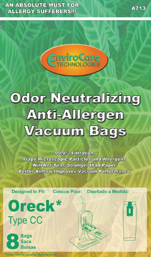 Oreck type CC Anti Odor / Allergen Vacuum Bags (8 Pack)